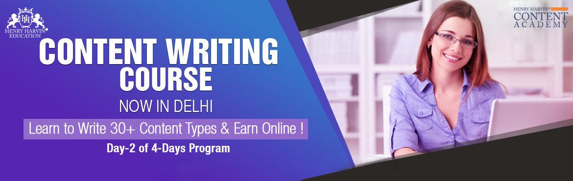 Book Online Tickets for Content Writing Course (CDCW) By Henry H, New Delhi. Henry Harvin Education introduces 8 hours Classroom Based Training and Certification course on content writing creating professional content writer, marketers, strategists. Gain Proficiency in creating 30+ content types and become a Certifi