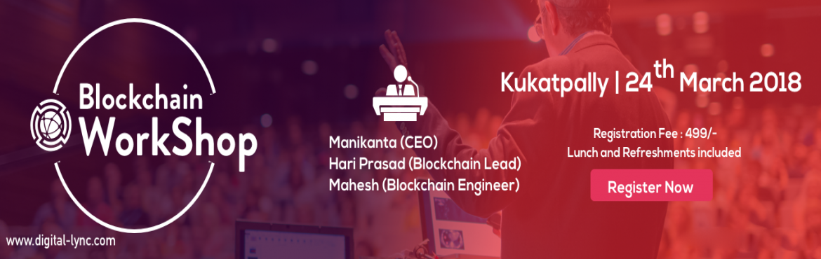 Book Online Tickets for Workshop on Blockchain, Hyderabad.   Overview This is a workshop to help participants understand what is a blockchain, what are the differences between blockchain and cryptocurrencies, types of blockchains and examples, how blocks are formed,underlying cryptographic algorithms,