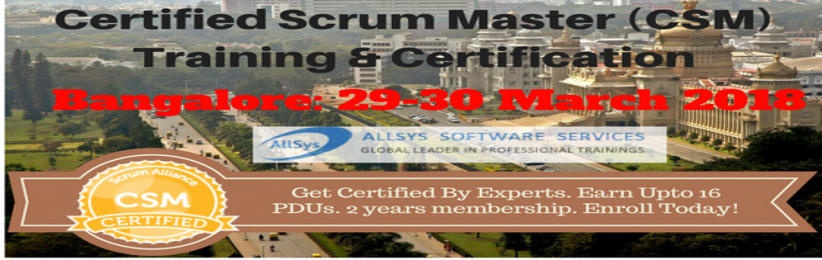 Book Online Tickets for ScrumMaster Certification Training in Ba, Bengaluru. Greetings from AllSys! Looking for CSM Training course? Our Certified Scrum Master certification course provides massive knowledge for your career growth and helps with better opportunity! About Course:In our interactive and hands on Scrum Master Cer