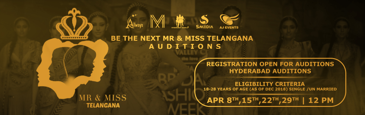 Book Online Tickets for Mr and Miss Telangana 2018, Hyderabad. Mr. & Miss. Telangana has been conceptualized and produced by Hyderabad Models. While individual excellence can get you far, history has proved over and over again that nothing can quite match up to a group of talented people pooling their resour