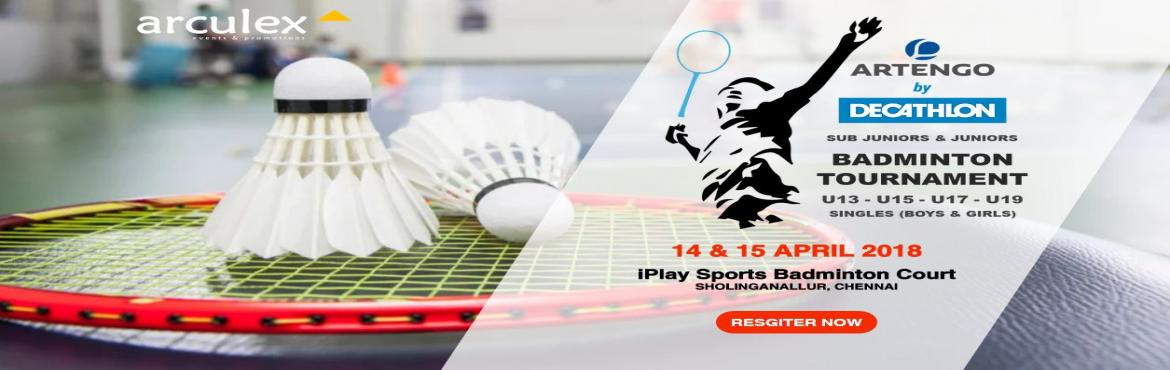Book Online Tickets for Artengo by Decathlon Badminton Tournamen, Chennai. Point System Upto Quarter Finals : 30 Points Single Game Semi & Finals : Best of 3, 15 Points Terms Age Proof is Mandatory. Online Registrations will close by 06:00 PM on 11 April 2018, Wednesday. Fixtures will be released by 06:00 PM on 13 April