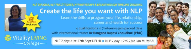 Book Online Tickets for NLP 7 Day fast track training with NLP P, NewDelhi. For first time in INDIA with Breakthrough coaching NLP PRACTITIONER - 7 DAY FAST TRACK Sept 21st - 27th 2012, Zorba the Buddha, Delhi  with TIMELINE BREAKTHROUGH COACHING and HYPNOSIS with Dr Rangana Rupavi Choudhuri (PhD) ANLP approved tr