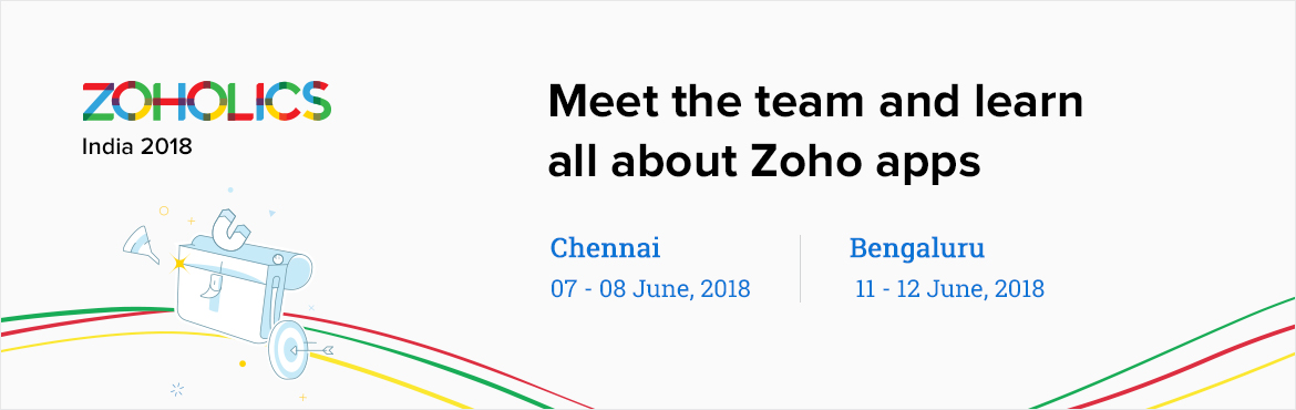 Book Online Tickets for Zoholics Chennai, Chennai. Zoholics: Chennai is designed to give you the opportunity to learn, network, and get theresources totake your teams to the next level. This user conference is a journey where you\'ll hear about the latest Zoho Solutions, get inspire