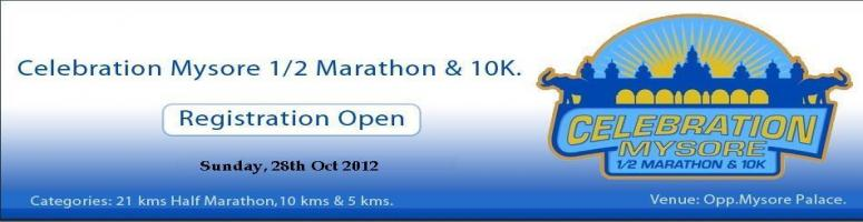 Book Online Tickets for Celebration Mysore 1/2 Marathon & 10K, Mysore. Event Details: The first event as part of the Celebration Run Series was organized successfully in Mysore as Celebration Mysore ½ Marathon & 10K on 2ndOctober, 2011 followed by Nitte Celebration Mangalore ½ Marathon & 10K
