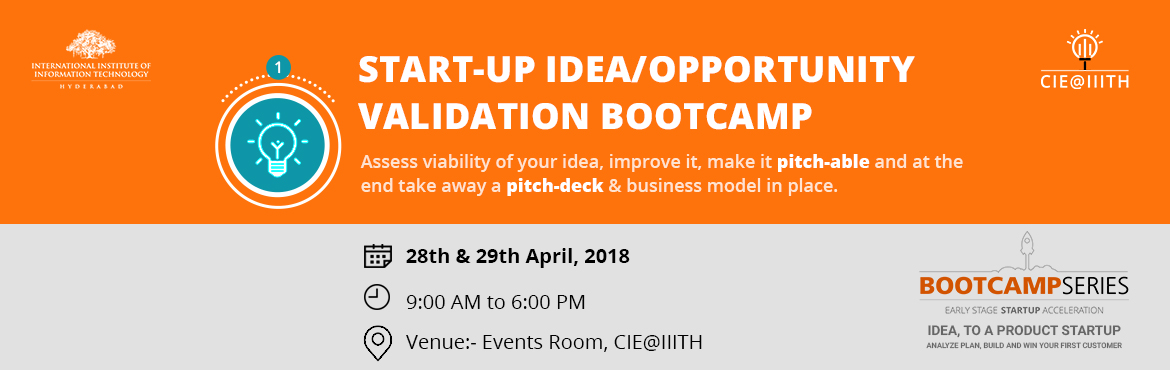 Book Online Tickets for Startup Idea/Opportunity Validation Boot, Hyderabad.