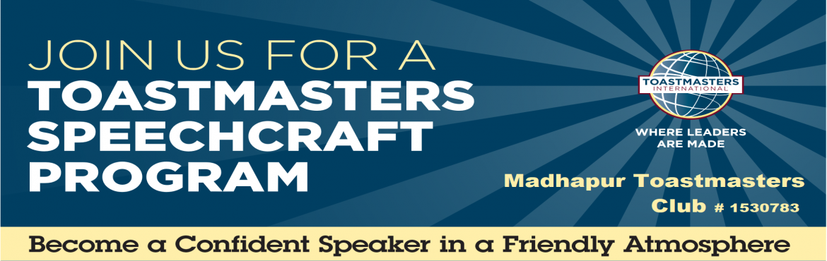 Book Online Tickets for SPEECHCRAFT, Hyderabad. Speechcraft is a program byToastmasters International to develop your public speaking ability and much much more. Youwill gain confidence in all aspects of communication, including written and impromptuspeeches, body language, voice