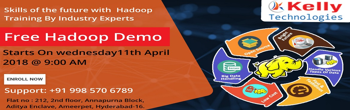 Book Online Tickets for Attend High Interactive Free Demo on Had, Hyderabad.  Attend High Interactive Free Demo on Hadoop Technology at Kelly Technologies on 11th Apr 2018 (Wednesday) @ 9:00 AM  Hadoop is considered as the most trending Java-based technology in the current IT world. It is completely an open source p