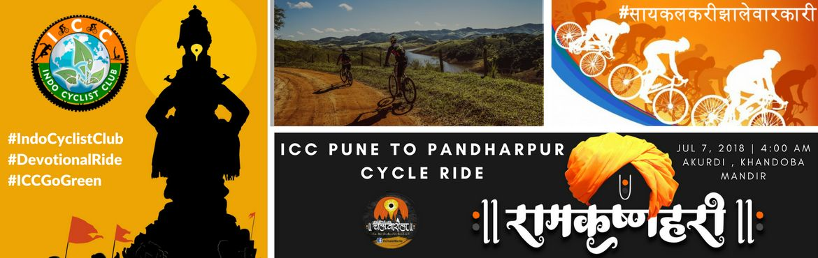 "Book Online Tickets for ICC Pune to Pandharpur Devotional Cycle , Pune. ICC Pune – Pandharpur – Pune Devotional Ride Indo Cyclist Club has organized the third edition of the Pandharpur cycle rally which is set to be flagged off at Saint Tukaram Maharaj Temple, Dehu. Indo Cyclist Club said, ""Pandharpur y"