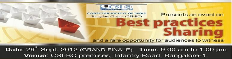 CSI Bangalore Chapter Presents an event on Best Practices Sharing