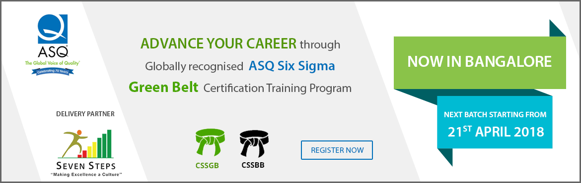 Book Online Tickets for ASQ Six Sigma Green Belt Training Progra, Bengaluru. Lean Six Sigma is aproven management methodologythat systematically reducesvariation and waste in processesusing statistical, analytical and logical tools toimprove the processes, maximizes business efficiency and