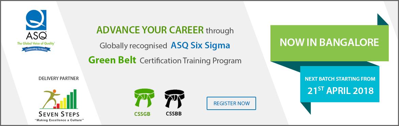 Asq Six Sigma Green Belt Training Program Bengaluru Meraevents