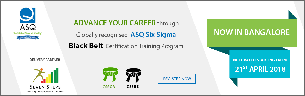 Book Online Tickets for ASQ Six Sigma Black Belt Training Progra, Bengaluru.   About The Event       Lean Six Sigma is a proven management methodology that systematically reduces variation and waste in processes using statistical, analytical and logical tools to improve the process