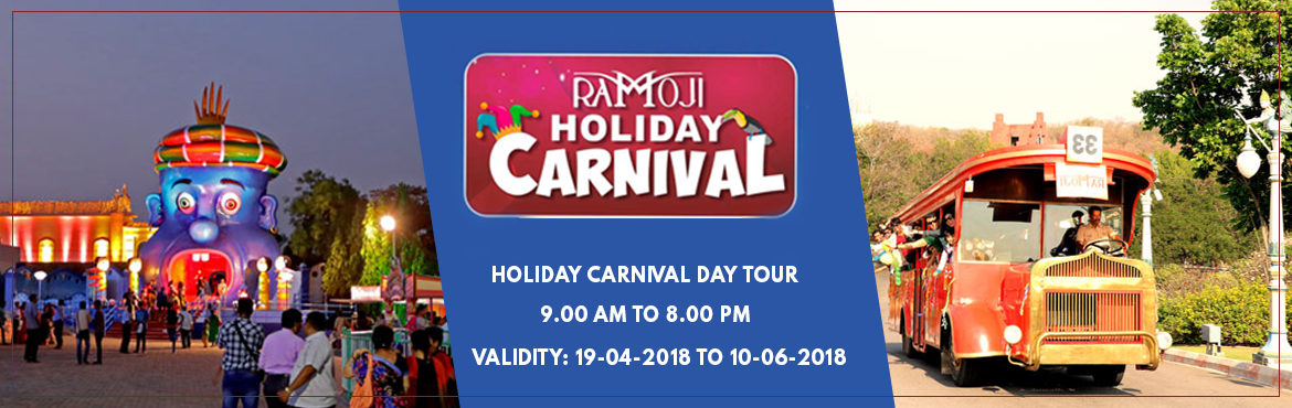 Book Online Tickets for Holiday Carnival Day Tour at RFC, Hyderabad.    Guided tour of Ramoji Film City in Non-A/c Vintage Bus (10am to 5pm). Visit to Bahubali Set (last bus at 4pm). Visit to Eco Zone – Butterfly Park, Exotic Bird Park – WINGS & Bonsai Garden. Fundustan(Child play area),