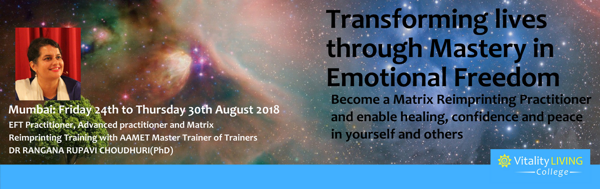 Book Online Tickets for EFT Transformation Program, Mumbai Augus, Mumbai. EFT Transformation Program Mumbai 2018 A Lasting Inner Transformation Seminar with Practitioner Certification Training         Make a difference to the lives of others and earn a living by becoming an EFT (Emotional Freedom Techniques) and