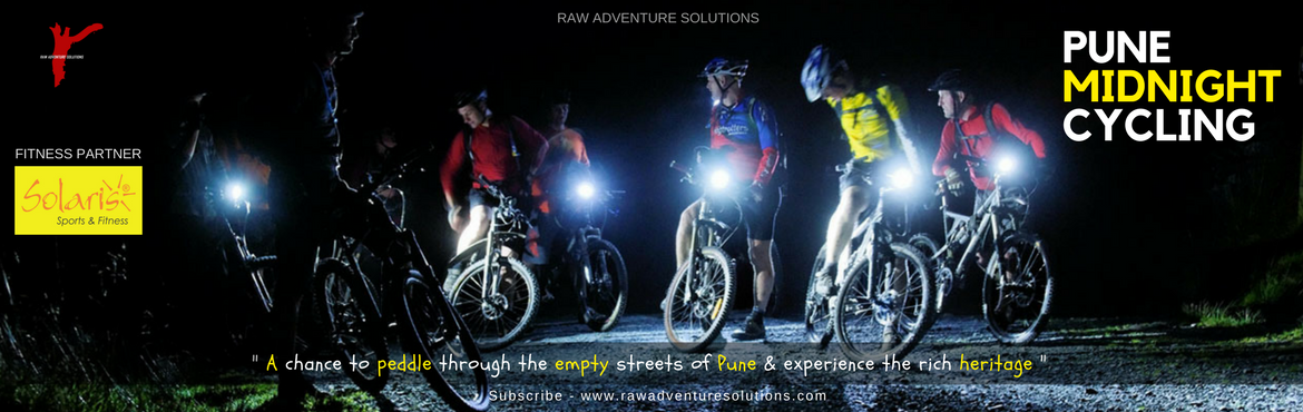 Book Online Tickets for Pune Midnight Cycling B2, Pune. PUNE MIDNIGHT CYCLING - B230 Apr 2018 | 10.30PM - 00.30AM FITNESS PARTNER - SOLARIS CLUB ABOUT PUNE MIDNIGHT CYCLINGDo you have ever thought of seeing Pune's most busy streets EMPTY? Do you ever think of Riding your Bike on those really busy st