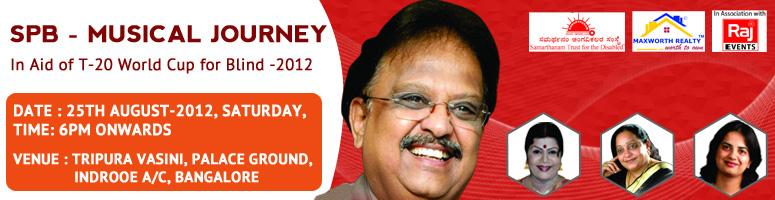 "Book Online Tickets for SPB Musical Journey, Bengaluru.  ""SPB Musical Journey"" - In aid of T-20 World Cup for the Blind