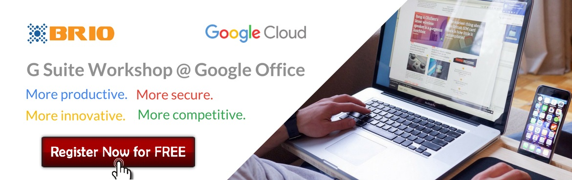 Book Online Tickets for G Suite Workshop @ Google Office - More , Bengaluru.      Join our G Suite workshop       More productive. More secure. More competitive. More innovative. Business leaders are always keen to improve. But what's the best path forward for your business right now? Join us @