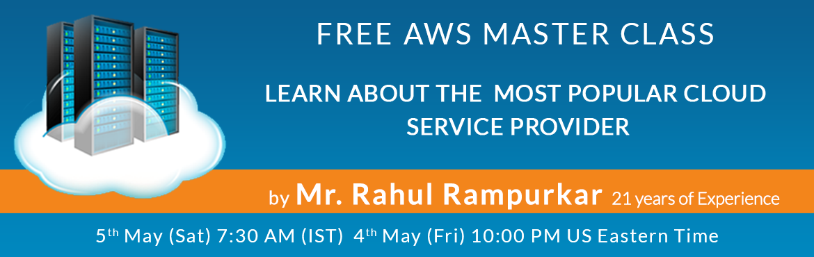 Book Online Tickets for FREE AWS Master Class, Hyderabad. Hello, Season\'s greetings from the Deccansoft and BestDotNetTraining.com team. Career Transition to cloud computing can be tricky, even for a seasoned software professional. There is so much happening in IT field, specially in Cloud Computing. The A