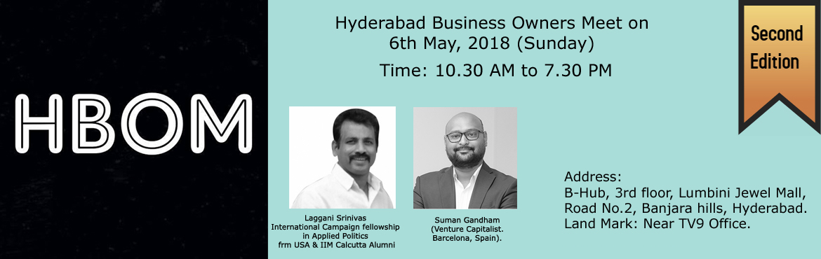 Book Online Tickets for Hyderabad Business Owners Meet, Hyderabad. HBOM (Hyderabad Business Owner's Meet) is well known Business Networking platform.Started a year ago and helped many business owners to grow their business.Please find the below information about HBOM's 2nd Edition. Agenda:10.30 AM to 11.