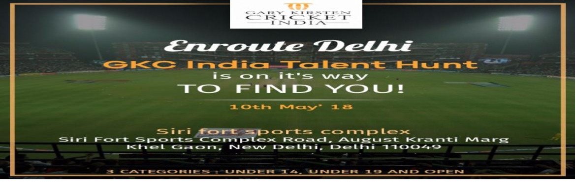 Book Online Tickets for GARY KIRSTEN TALENT HUNT - DELHI, New Delhi. Gary Kirsten, who is widely loved by Indian cricketers and fans alike, is working closely toharness the best talent in the country. A city-wide talent scout will be held on 10th May 2018 at Siri Fort Sports Complex, New Delhi.Six players