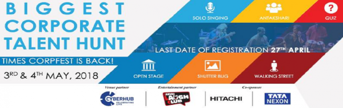 Book Online Tickets for Times Corp Fest at DLF CYBERHUB, Gurugram. Head over to DLF CYBERHUB to have the time of your life, an escape from the hasty corporate life as Times of India is hosting an annual property Times Corp Fest where employees get to follow their passion and show their hidden talent in different act