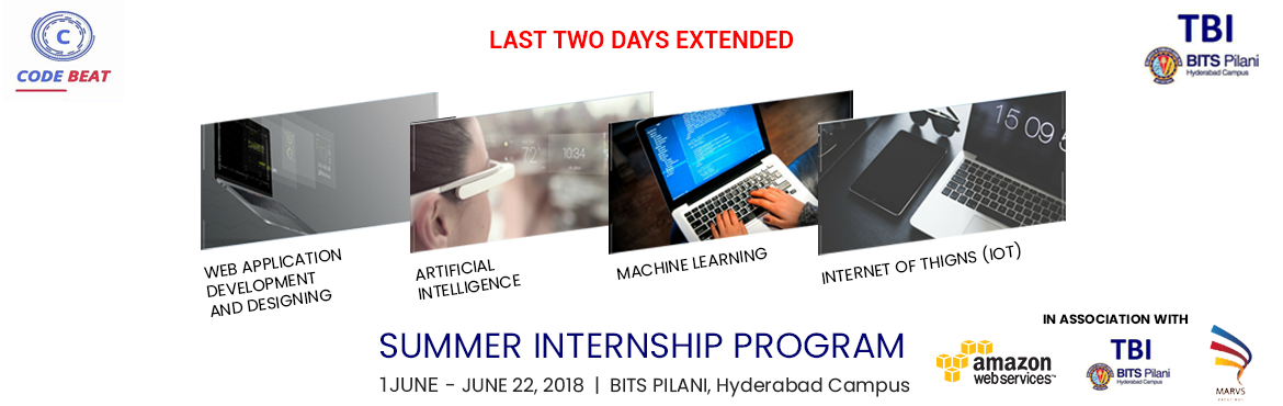 Book Online Tickets for Code Beat 21 Days Summer Internship Prog, Hyderabad.  Worried reading that as per the new AICTE Norms, it is now mandatory for every AICTE approved University and College to ensure that its students must undergo internship? Don't worry, we understand your need and that is why we bring to you