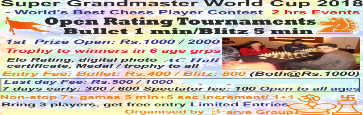 Book Online Tickets for Dombivli Barve Saurabh Super Grandmaster, Dombivli.   Tournament rules & regulations   Open Rating Round robin Chess Tournament (Anybody can participate: No restriction)Bullet: 1 minute + 1 second increment per move per player per game Blitz: 5 minutes + 5 seconds increment per