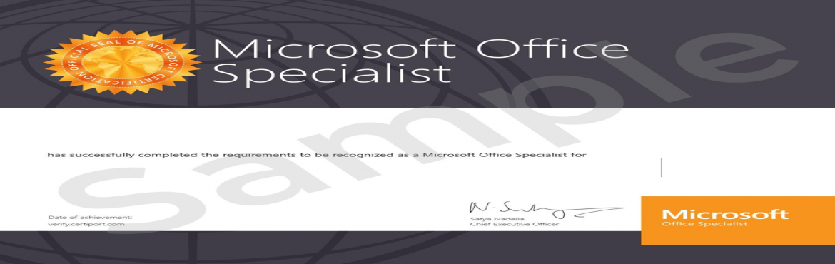 Book Online Tickets for Microsoft Office Specialist-Excel Certif, Hyderabad. Register for 8 hours of Excel Training and receive a globally valid certificate in Excel signed by Microsoft Satya Nadella. You can add MOS specialist tag on your profile and upload the certificate on LinkedIn. The Certificate is recognized globally