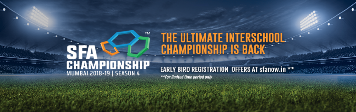 Book Online Tickets for SFA Championship 2018, Mumbai. SFA Championship 2018, the ultimatesporting championship for school children is here!  With 25+ sports and international sporting facility SFA MUMBAI 2018 guarantees to be the best youth sports event in India. Athletes from across M