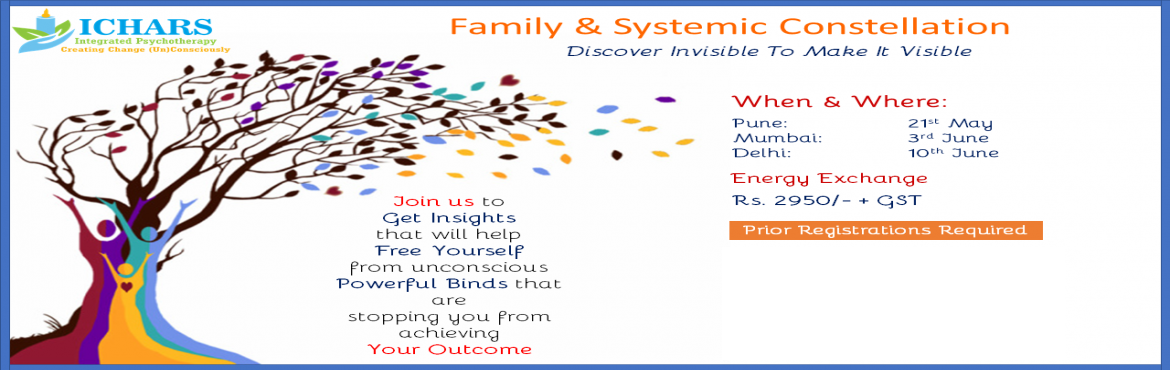 Book Online Tickets for Family and Systemic Constellation, Pune. Family and Systemic constellation is a powerful tool to get insights on issues related to one's personal and professional life. These insights lead to a shift in us, both at the level of conscious and unconscious. This shift helps us move close
