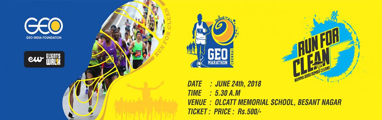 Geo Trail Marathon - Namma Oru Romba Cleanu is a running event in Chennai which is held on 23 Jun 2018 at Olcott Memorial High School, Besant Nagar. w