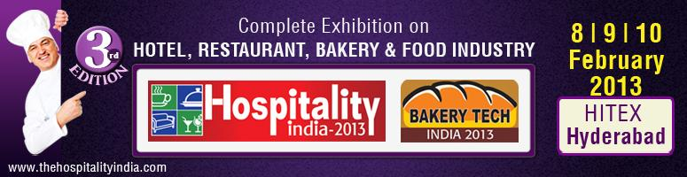 Book Online Tickets for Hospitality India 2013 - Hyderabad, Hyderabad. Hospitality India 2013 The Hospitality India exhibition is into its 3rd Edition. This is the only premier exhibition for the Hospitality Industry for the entire region. From 1000 sq mt in its 1st edition, the exhibition has grown to 3500 sq. mt in t