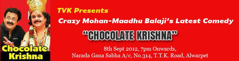 Book Online Tickets for Crazy Mohan-Maadhu Balaji\'s Latest Come, Chennai. Laughter needs no time or place, it only needs an instigator. There are so many ways to burst into a good, solid bout of laughter- a funny movie, a joke, a cartoon, a stand-up routine or may be a comedy play by the hilarious Crazy Mohan. If yo