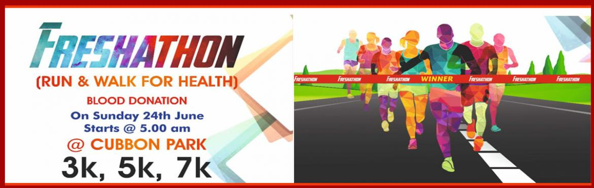 Book Online Tickets for Freshathon (Run and Walk for Health) and, Bengaluru. There are no age categories for this running event, except for kids above 12 years only. No particular cut off time is there.You can complete at your own pace. Collection of the bibs & T-Shirt will be done on the day of the running da
