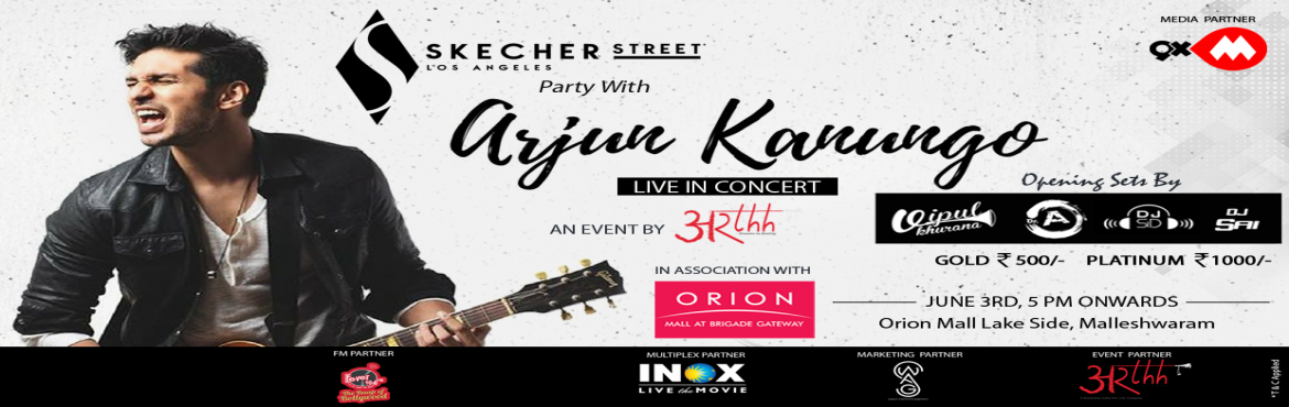 Book Online Tickets for Skechers Street Party with Arjun Kanungo, Bengaluru. Catch the GIMA Award winner Singer, Composer, and Actor Arjun Kanungo Live in Concert for the Skechers Street Party at Namma Bengaluru on June 3rd,2018 Along with the Top DJs like Vipul Khurana , Dr A , DJ Sid and DJ Shafi of the City entertaining yo