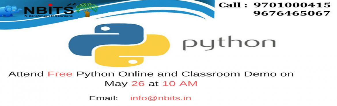 Book Online Tickets for Free Python Online and Classroom Demo on, Hyderabad. NBITS Training Institute Offering the Best Python Online Training andPython Training in Hyderabad with Lab Facilities and Experienced Faculty  People Who are Interested Can Enroll here  https://goo.gl/forms/cHJhkEHdlnnunv4l1 &
