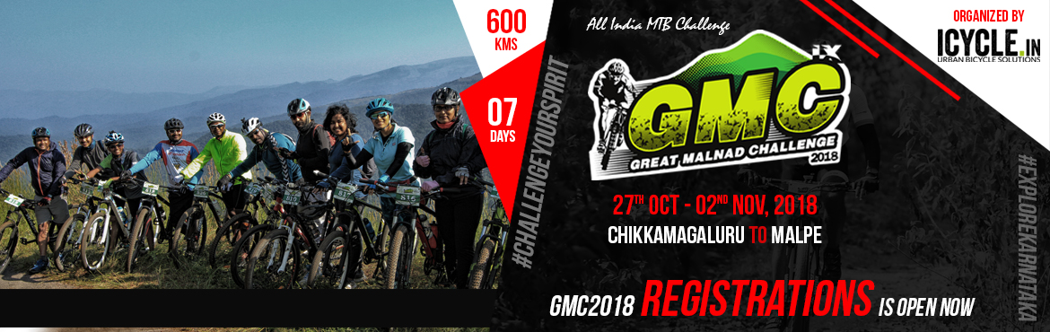 Book Online Tickets for GREAT MALNAD CHALLENGE 2018, Bengaluru.  Welcome to GMC2018. The Great Malnad Challenge is an annual MTB ride that passes through some of the best trails in the Western Ghats region of Karnataka. This year's event is the 9th edition of the challenge.   The Great Malnad Chal