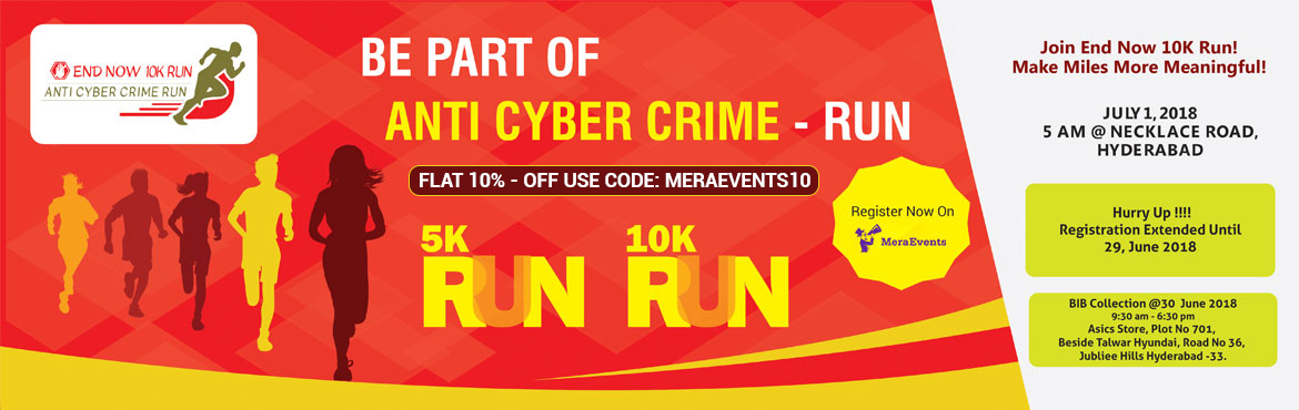Book your tickets for an upcoming marathon 5k run, 10k run in Hyderabad at Necklace Road on 1st July 2018 to Spread Awareness About Cyber Crime.