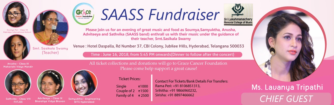 Book Online Tickets for GRACE CANCER FOUNDATION FUND RAISING EVE, Hyderabad. GRACE Cancer Foundation in an NGO working towards the awareness, prevention, and access to treatment of cancer among the vulnerable population in the society. In the last four years of its journey, it has impacted on lives of lakhs of the cancer