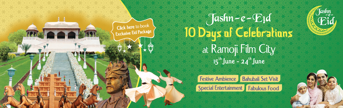Book Online Tickets for JASHN-E-EID - DAY TOUR AT RAMOJI FILM CI, Hyderabad.  Guided tour of Ramoji Film City in Non-A/c Vintage Bus (10 am to 5 pm). Visit to BahubaliSet (last bus at4 pm). Visit to Eco Zone – Butterfly Park, Exotic Bird Park – WINGS & Bonsai Garden. Lunch-Chicken Biryani(Pre-Plate