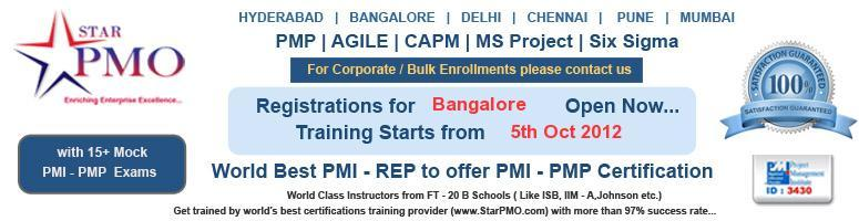 Book Online Tickets for PMP Certification Training in Bangalore , Bengaluru. PMP Certification Workshop on MSP2010 StarPMO is pleased to announce its upcomingPMP Certification Training program at Bangalore. Workshop Dates in Bangalore 05, 06 & 07 October 2012 Location: The Shelton Grand, #