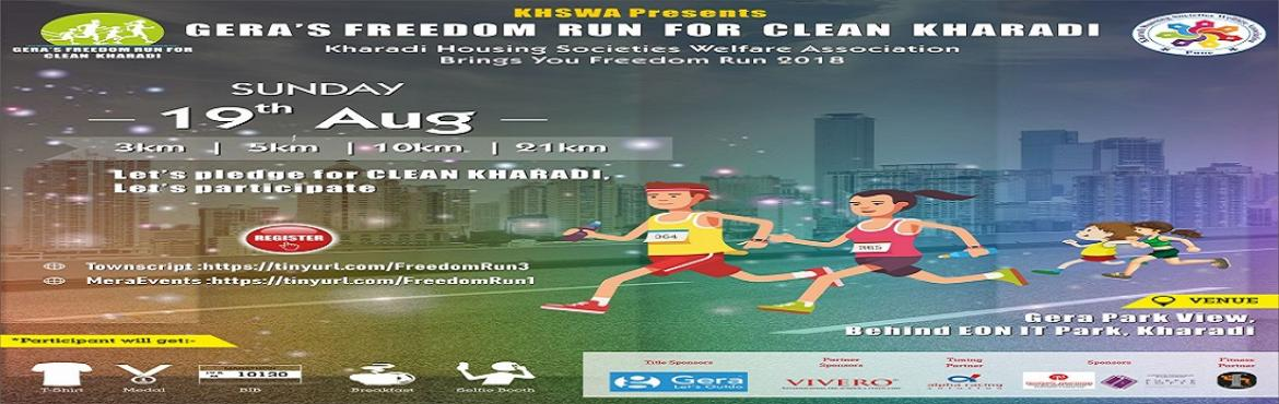 Book Online Tickets for Freedom Run for Clean Kharadi, Pune. Important Update :  Expo Day : Sat, 18-Aug-18 from 2:00 PM to 8:00 PM.  Participant to collect Goodie Bag, T-Shirt, BIB and some informative pamphlets from Event Sponsors Expo Day Location : F3 Gym, 2nd Floor, Opp PMC Water Tank, DP Farms r