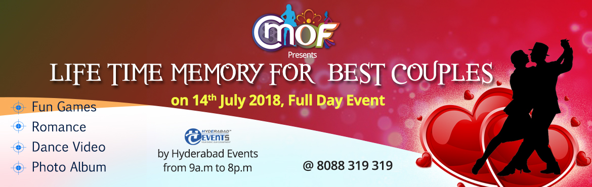 Book Online Tickets for Life Time Memory for Best Couple, Hyderabad. Hyderabad Events Industry, Telangana has been doing plenty of fashion shows in Hyderabad and recently conducted one National Fashion Event \'Mr & Miss Urban India\' Now it is coming up with one unique event for couples which gives the fun, e