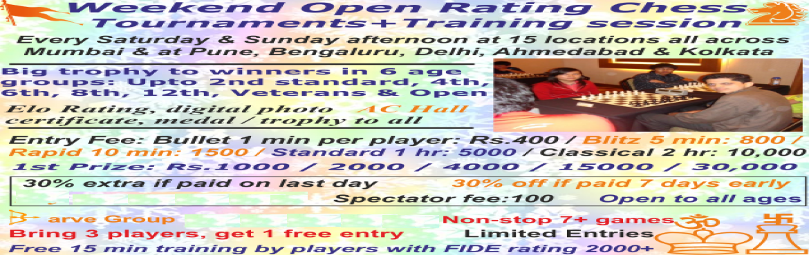 Book Online Tickets for Barve Saurabh Koparkhairane OPEN Rating , Navi Mumba. Tournament rules & regulations Every weekend at Mumbai & every month at Pune, Delhi & BengaluruOpen Rating Round robin Chess Tournament (Anybody can participate: No restriction)Bullet 1 minute per player tournament Entry Fee: Rs.400