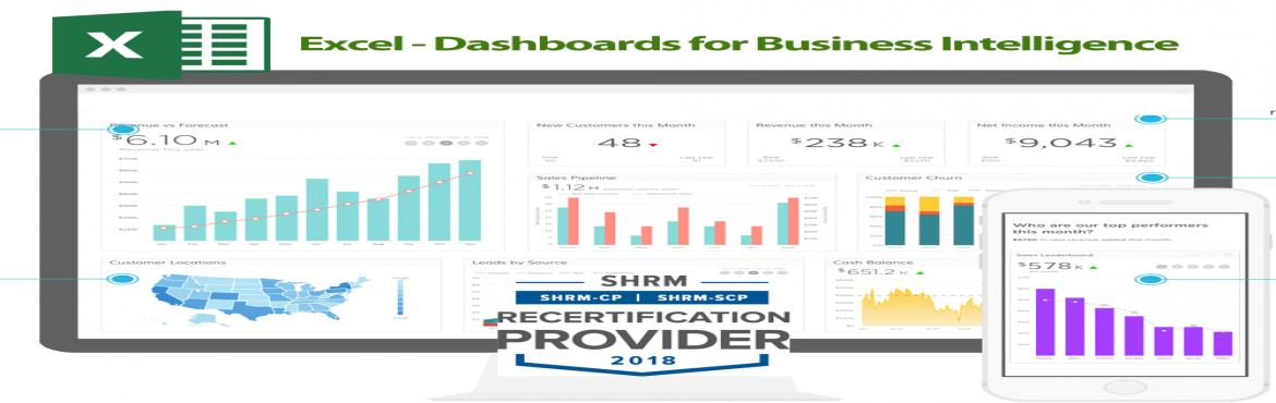 Book Online Tickets for Excel - Dashboards for Business Intellig, Aurora.   OVERVIEW   No matter what business you are in, a dashboard is a critical tool in your communication armoury and as with any communication tool, presentation is everything. Although there are many tools that can be used to create a dashboa