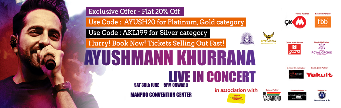 Ayushmann Khurrana of Pani da Rang fame is ready to perform live in Concert at Bengaluru on Saturday 30 Jun. Witness the biggest Bollywood musical eve