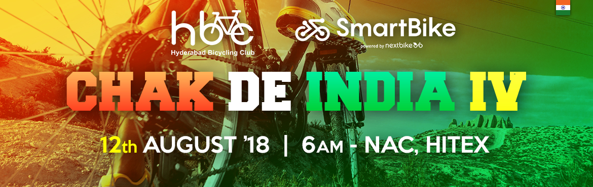 Be ready to participate in bicycling event in Hyderabad. Chak De India 4 Bicycle Ride of Hyderabad on 12th August 2018 at Hitex Exhibition Center.