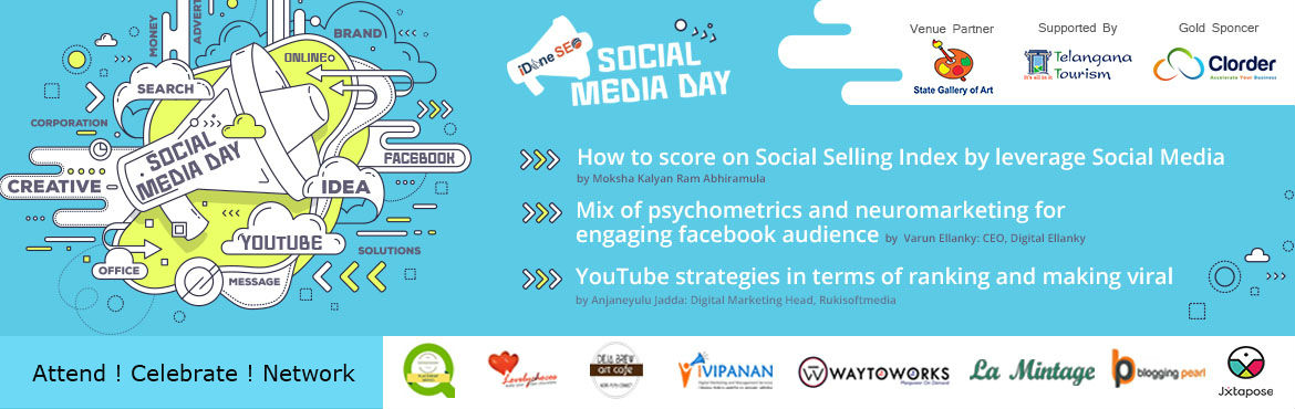 Book Online Tickets for Social Media Day - Hyderabad, Hyderabad. Join us for the Social Media Day on June 30th, at State Art Gallery, Madhapur, Hyderabad.  Social Media Day is an important day to celebrate not only as someone who is interested in the evolving medium, but also as an entrepreneur, as a marketer