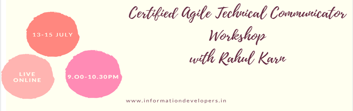 Book Online Tickets for Certified Agile Technical Communicator, Noida. About The Event  Course name–Certified Agile TechnicalCommunicator        Learn the concept of writing in the agile process like Scrum, Kanban etc. This comprehensive training will empower you complete knowledgeof