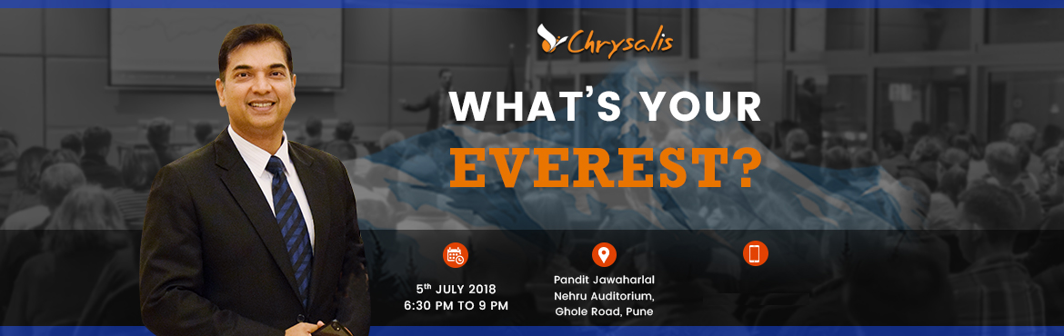 Book Online Tickets for Whats Your Everest By Manish Gupta , Pune. BE EXTRAORDINARY !ACHIEVE what you think is IMPOSSIBLE ! ✅Your Everest can be Getting your Qualification.✅Your Everest can be Finding the Job you really Love.✅Your Everest can be Winning an Olympic Medal.✅Your Everest can be Getting your work